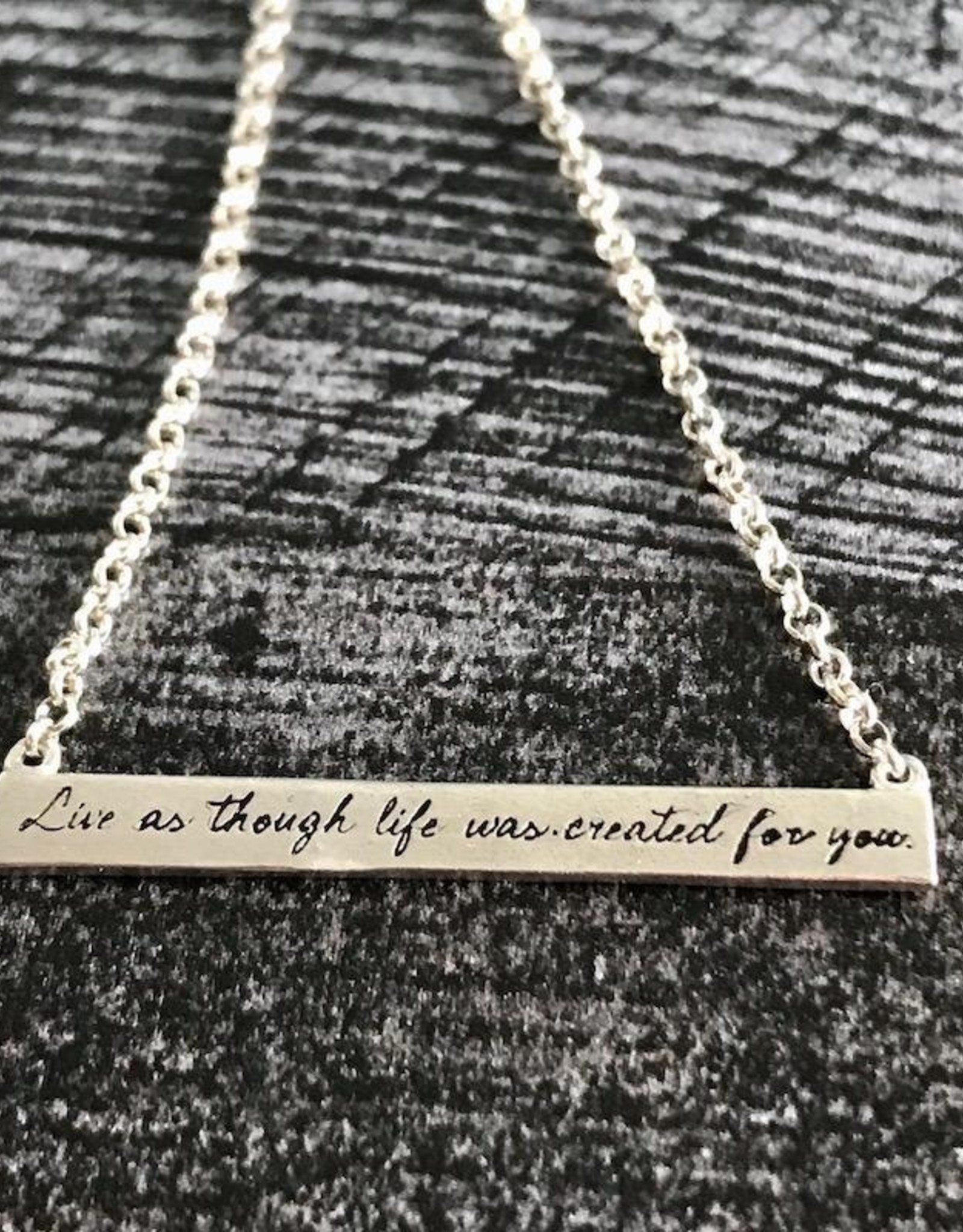 """Handmade SS Maya Angelou ID Necklace, """"Live as though life was created for you"""""""