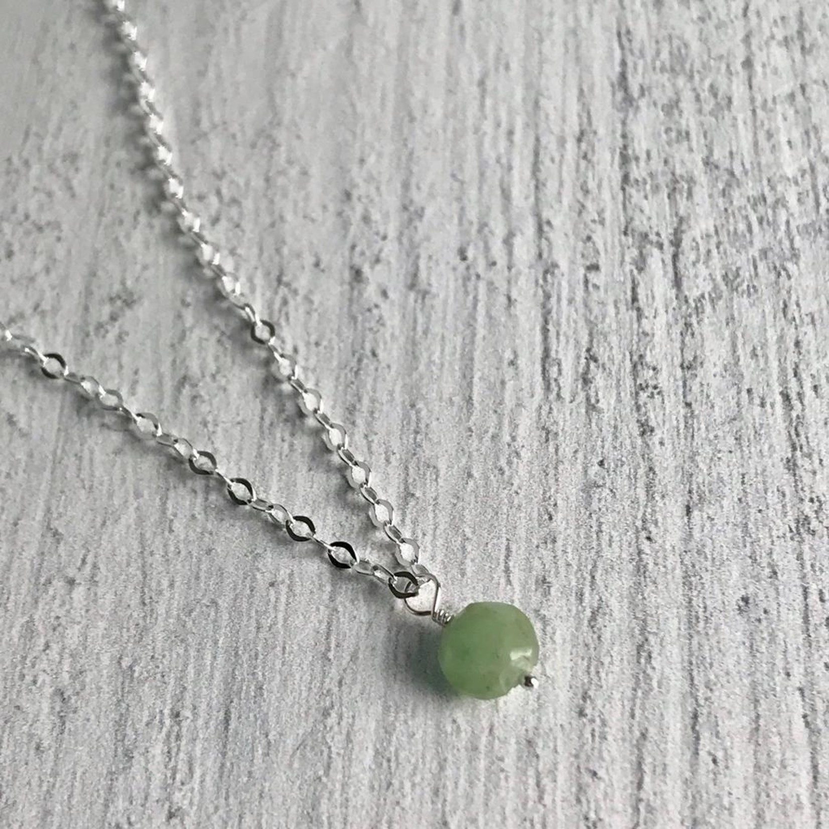 Handmade Silver Necklace with Emerald Drop