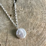 Handmade Silver Necklace with White Coin Pearl
