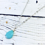 Handmade Silver Necklace with Turquoise Briolette