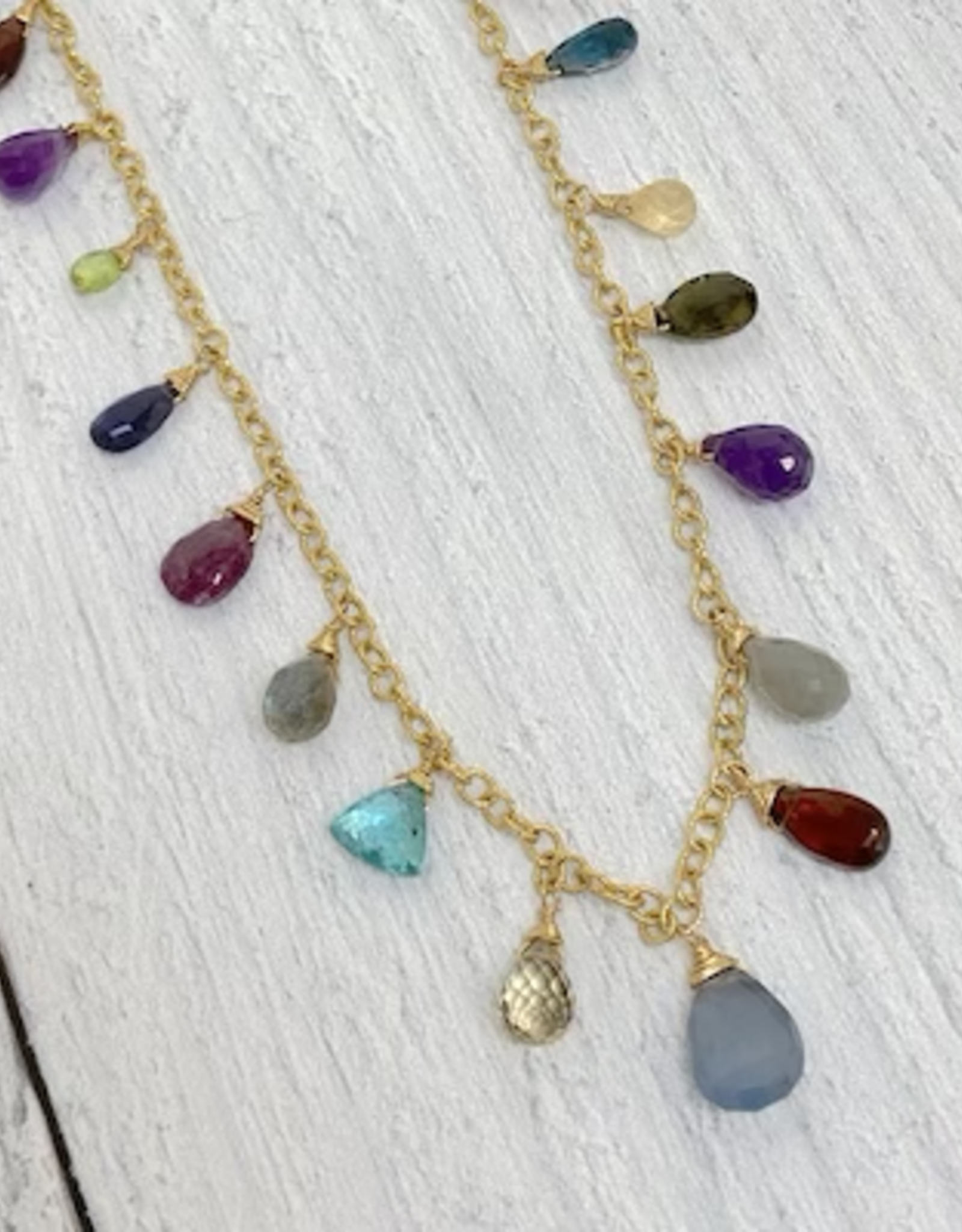 Handmade 14k Goldfill Chain Necklace with jewel tone briolettes: chalcedony, topaz, peridot, london blue topaz, ruby, garnet, citrine, apatite, tourmaline, moss aquamarine, iolite, amethyst