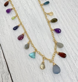 EVANKNOX Handmade 14k Goldfill Chain Necklace with jewel tone briolettes