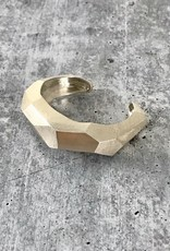 Handmade Solid Sterling Silver Chunky Faceted Cuff