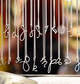 Christina Kober Sterling Silver Script Initial Necklace