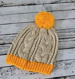 Leto Mustard Two Tone Pom Cable Beanie