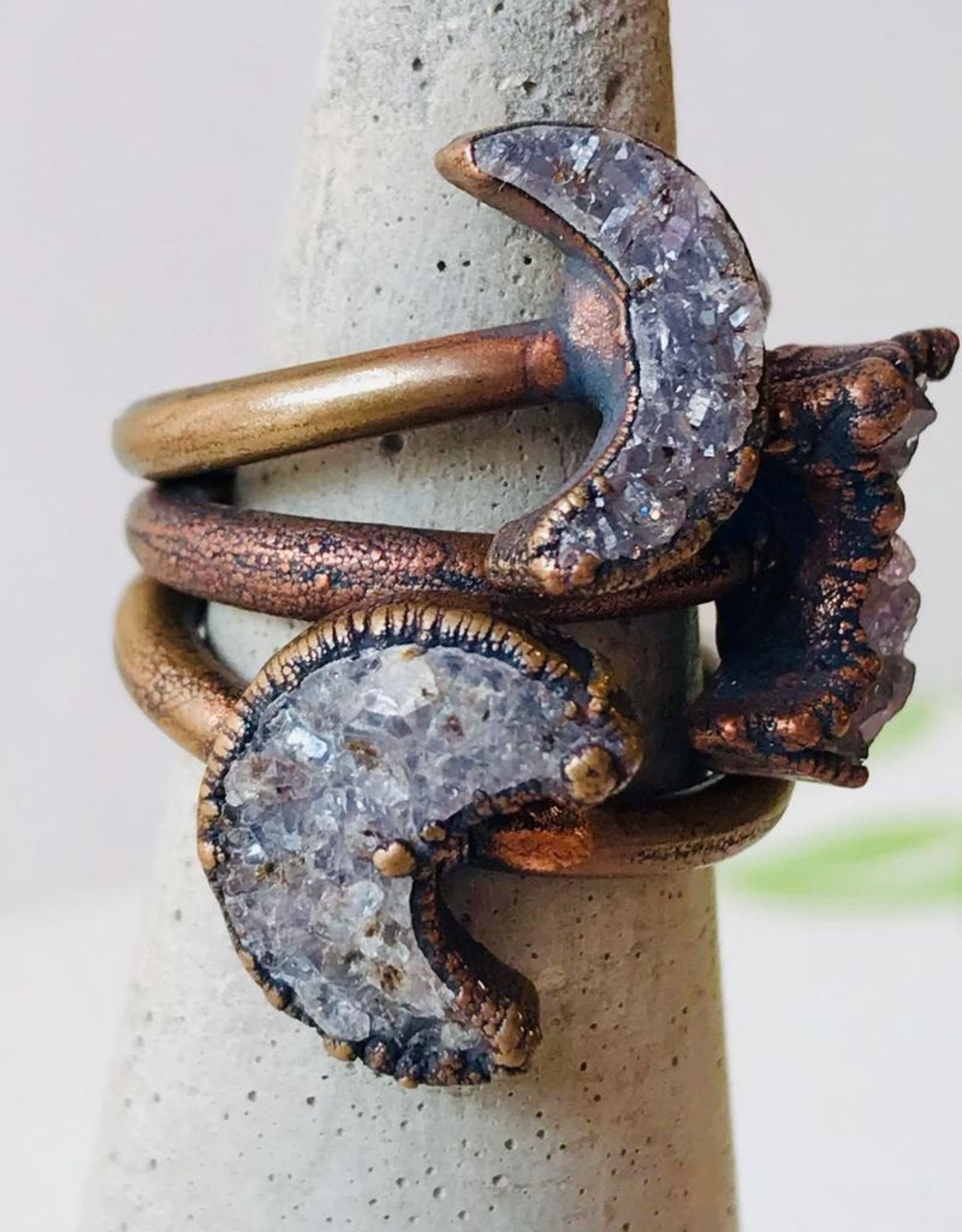 HawkHouse Copper Ring with Crescent Moon-Shaped Druzy