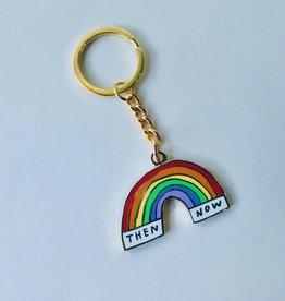 Then & Now Rainbow Enamel Keychain