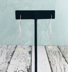Handmade Silver Earrings with labradorite briolette threader