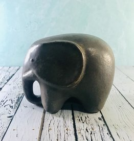 CREATIVECOOP Terra-cotta Elephant, Reactive Glaze, Metallic (Each One Will Vary)