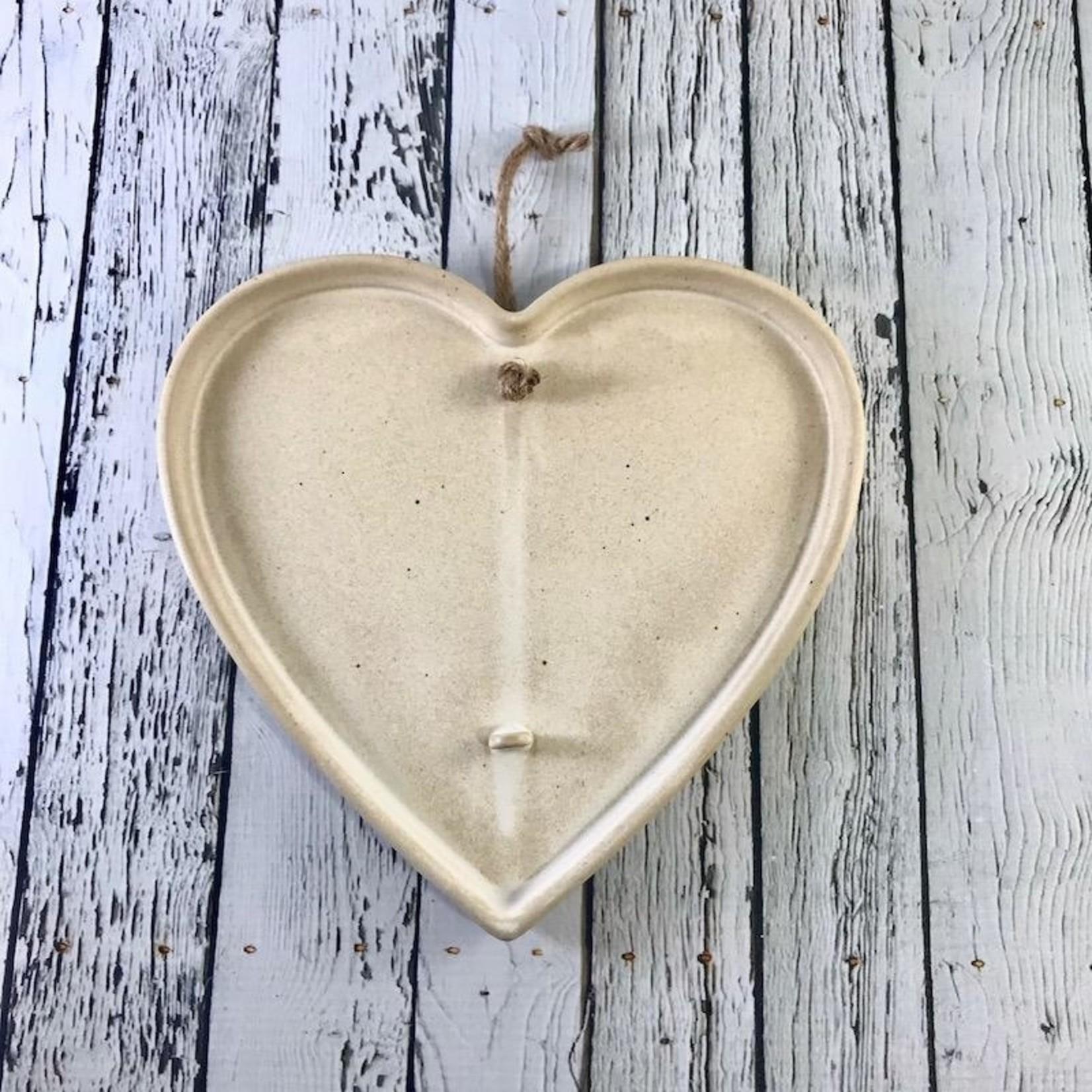"8-1/4""W x 7-3/4""H Hanging Stoneware Heart Dried Flower Holder"