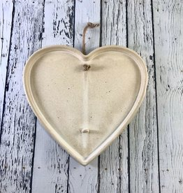 "8-1/4""W x 7-3/4""H Hanging Stoneware Heart Dried Flower Holder"