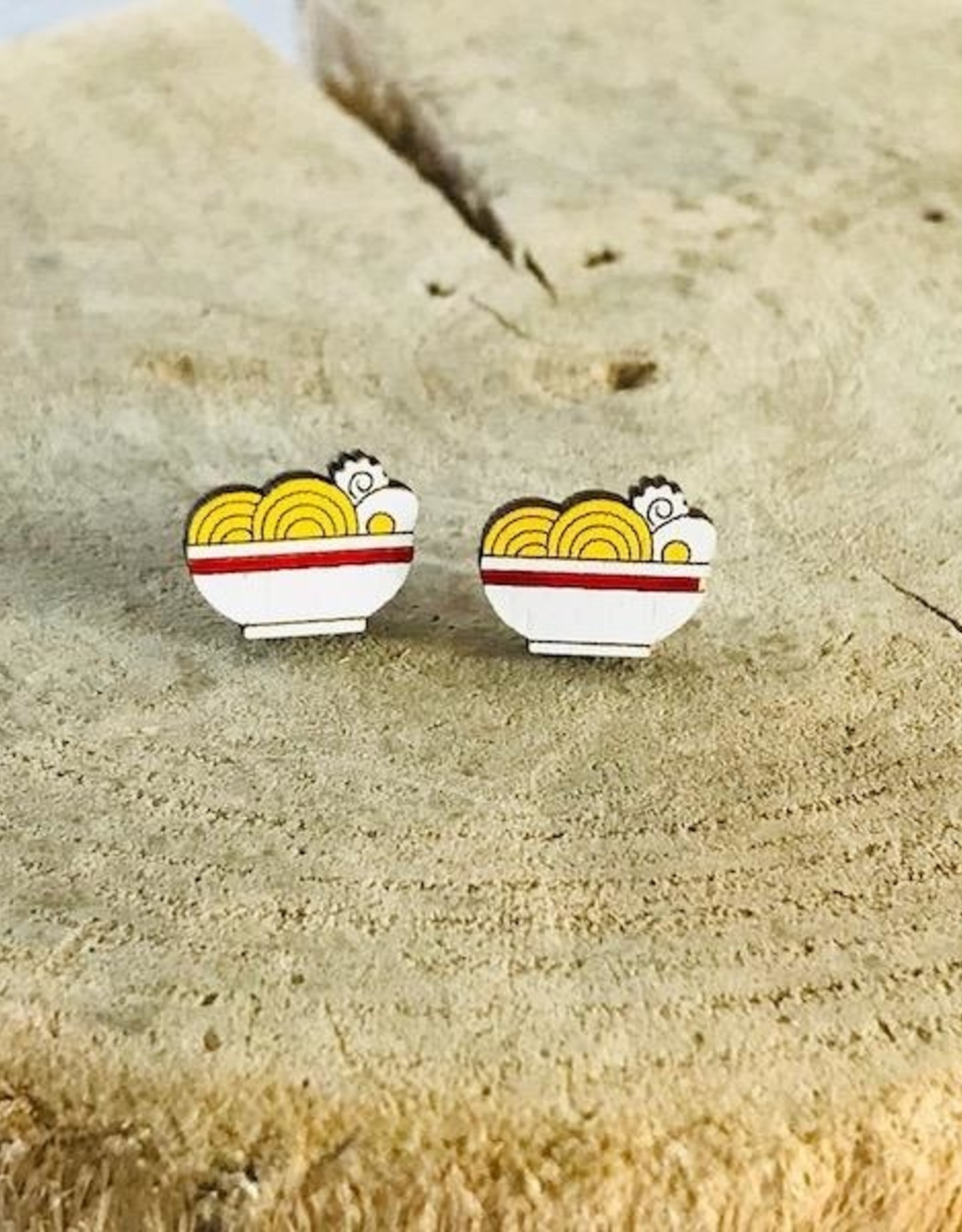 Handmade Ramen Lasercut Wood Earrings on Sterling Silver Posts