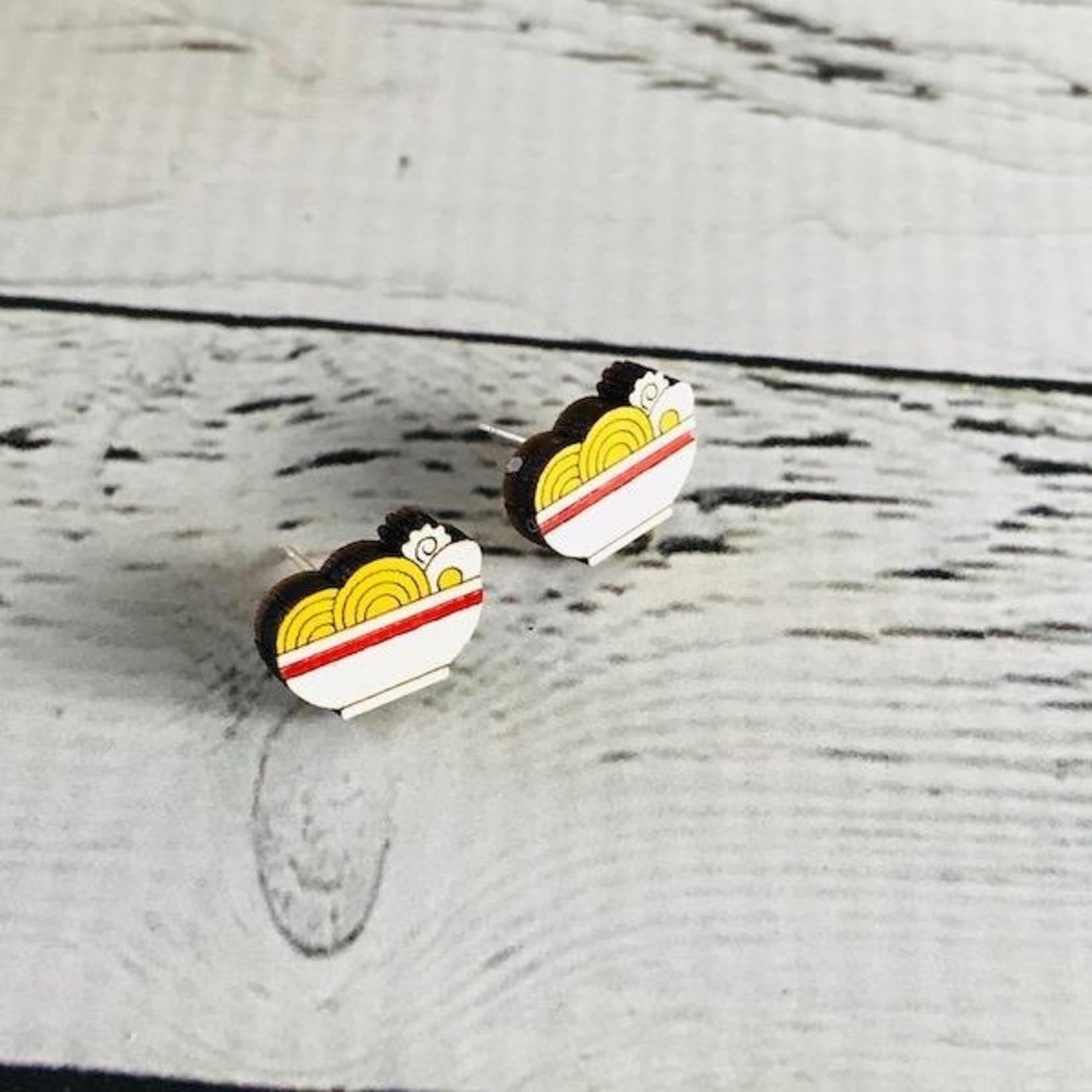 Handmade Ramen Lasercut Wood Earrings on Sterling Silver Posts
