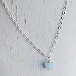 Handmade Silver Necklace with Aquamarine Nugget