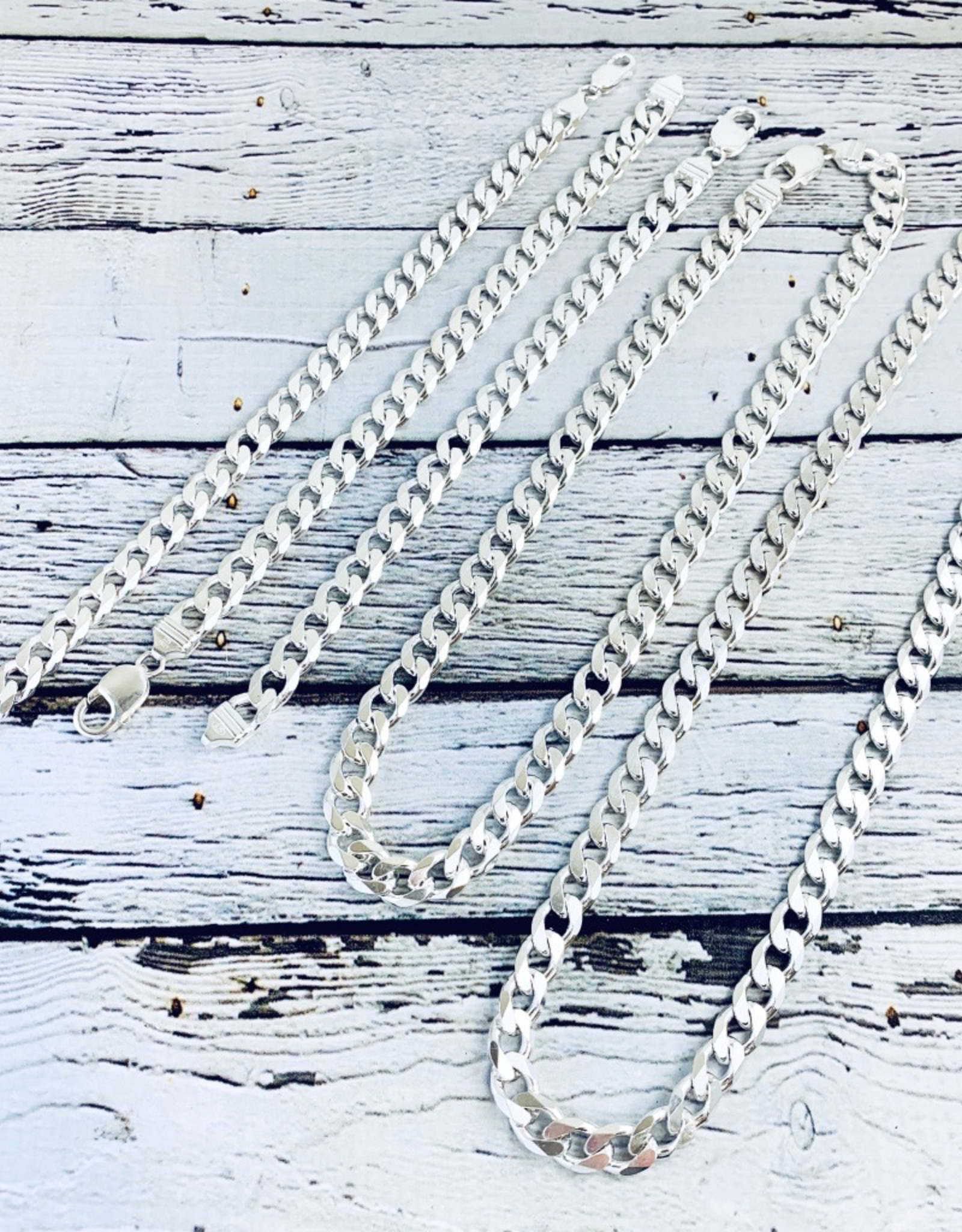 Sterling Silver Curb 250 (9mm) Chain