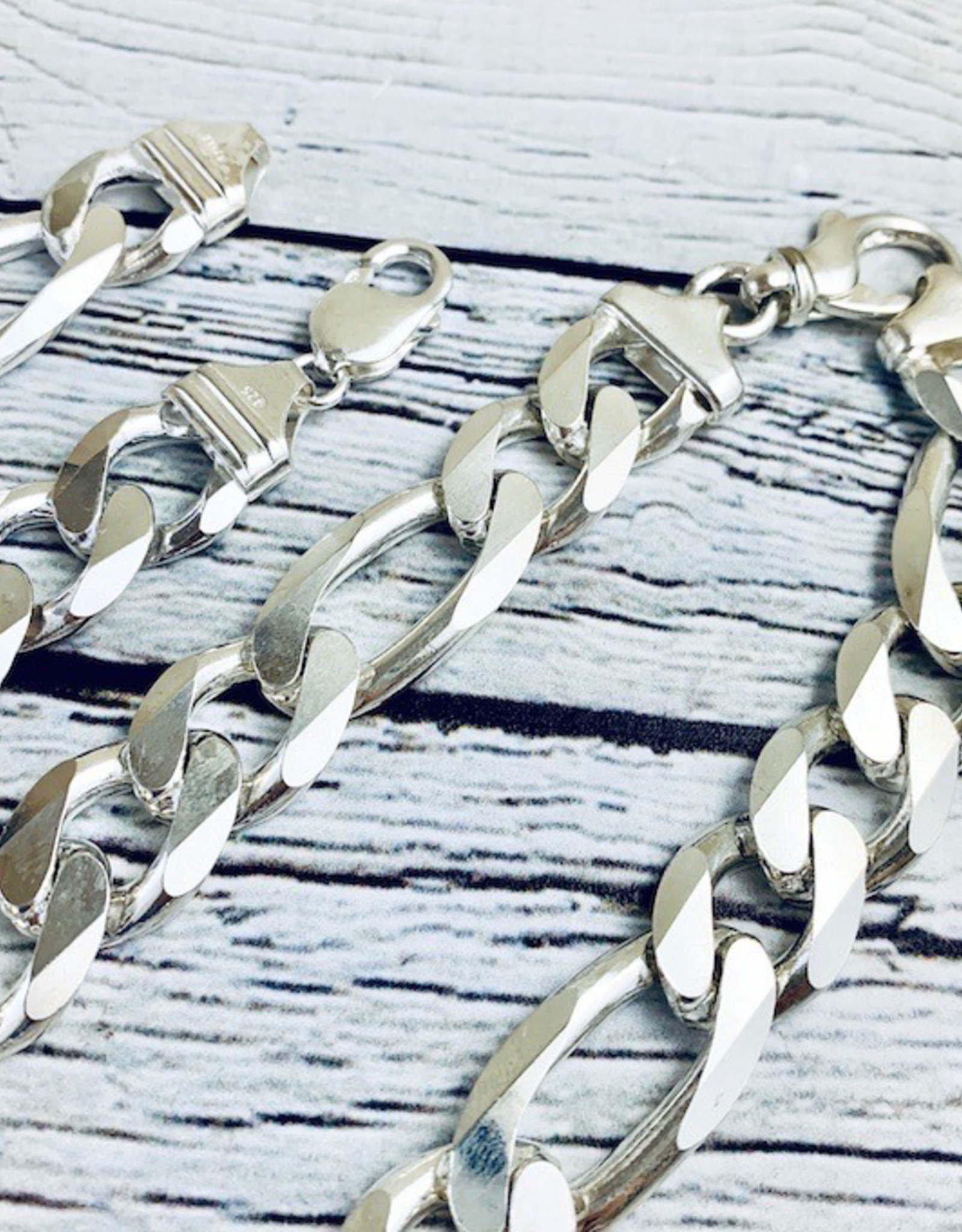 Sterling Silver Heavy Figaro 400 Chain, 14mm