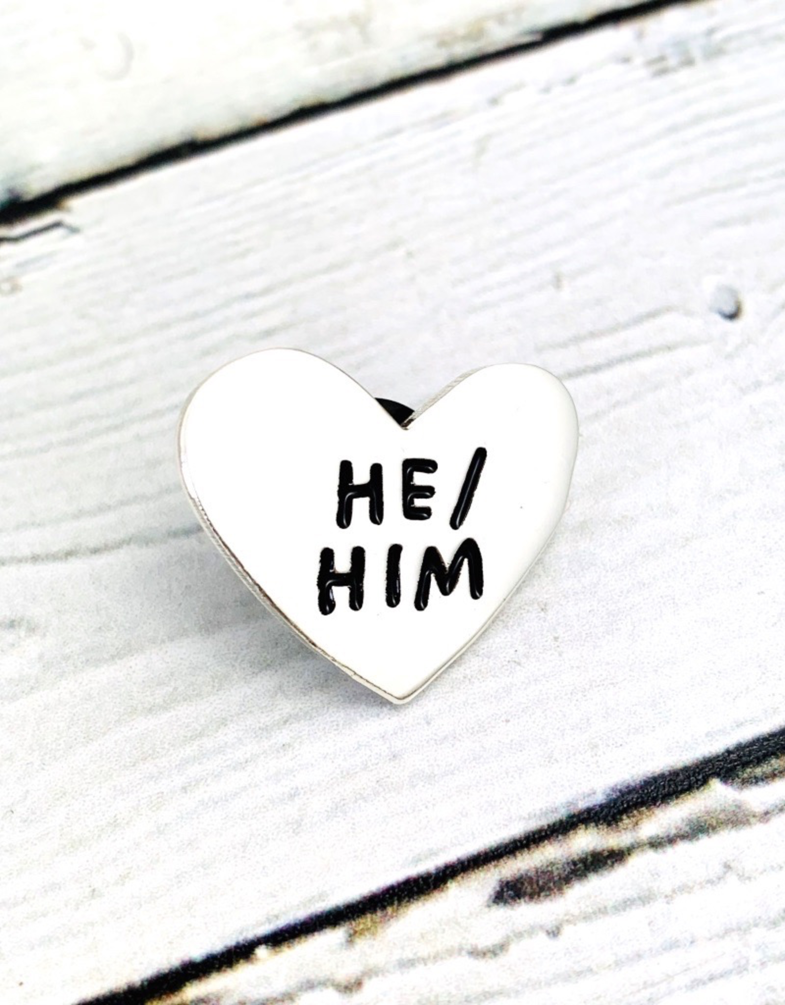 He/Him Pronoun Heart Pin