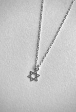 """Sterling Silver Necklace with Tiny Star of David Pendant, 16"""""""