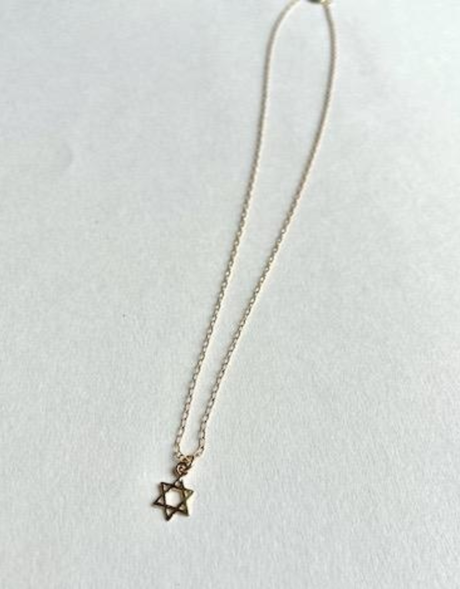 14k Goldfill Necklace with Tiny Star of David Pendant