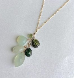 """Handmade 14K Goldfill 24"""" Necklace with Cascade of Prehnite and Emerald Stones"""