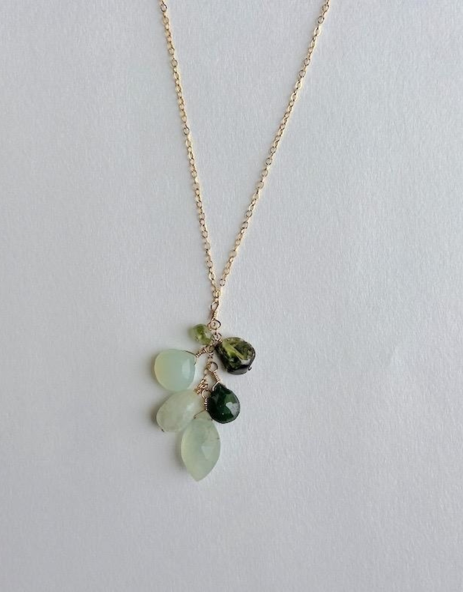 "Handmade 14K Goldfill 24"" Necklace with Cascade of Prehnite and Emerald Stones"