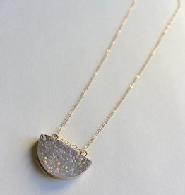 Handmade 14k Goldfill Necklace with White Half Moon Druzy