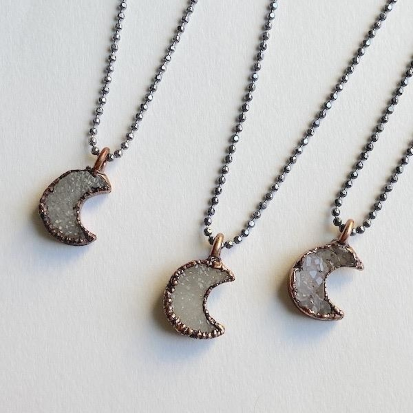 """Small Crescent Moon Shape Electroformed Druzy Pendant on 18"""" Oxidized Faceted Ball Chain Necklace"""