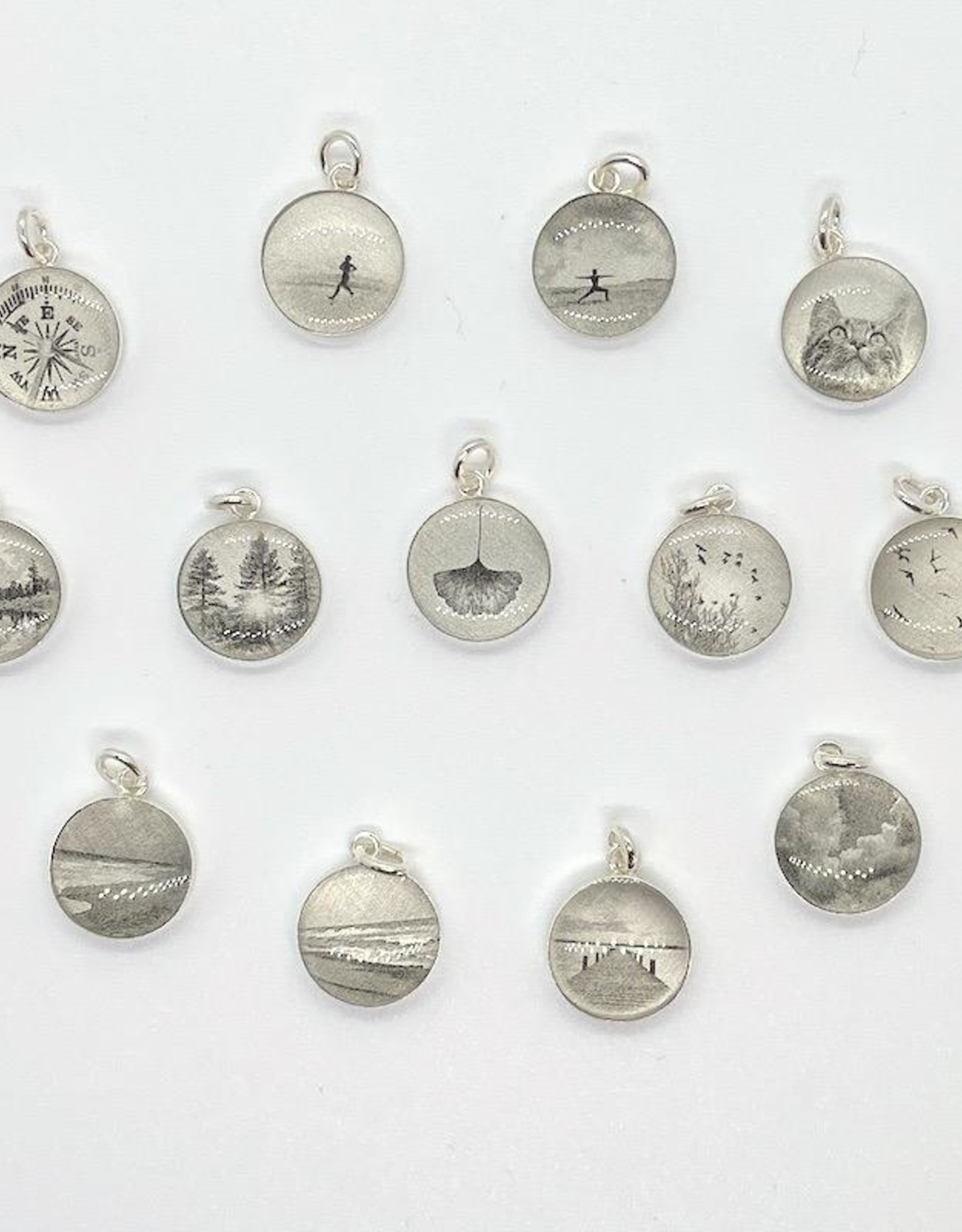 Lithograph Photo Pendant on Silver Rolo Chain Necklace