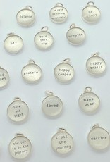 Lithograph Word Pendant on Silver Rolo Chain Necklace