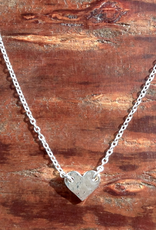 Sterling Silver Tiny Hammered Heart Necklace
