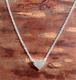 Tashi Sterling Silver Tiny Hammered Heart Necklace