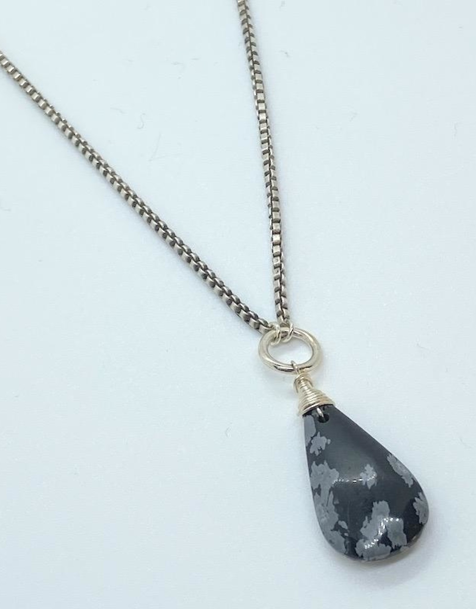 Handmade Sterling Silver Necklace with snowflake obsidian briolette, box chain