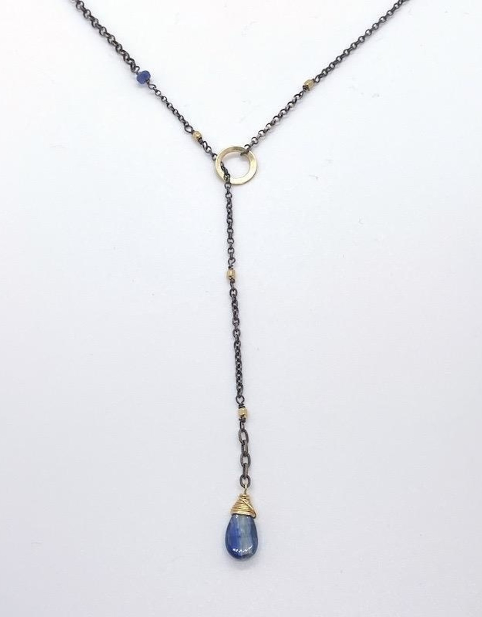 Handmade Silver Necklace with lariat: kyanite briolette, oxidized chain, 14 k g.f. faceted cubes/ring, kyanite