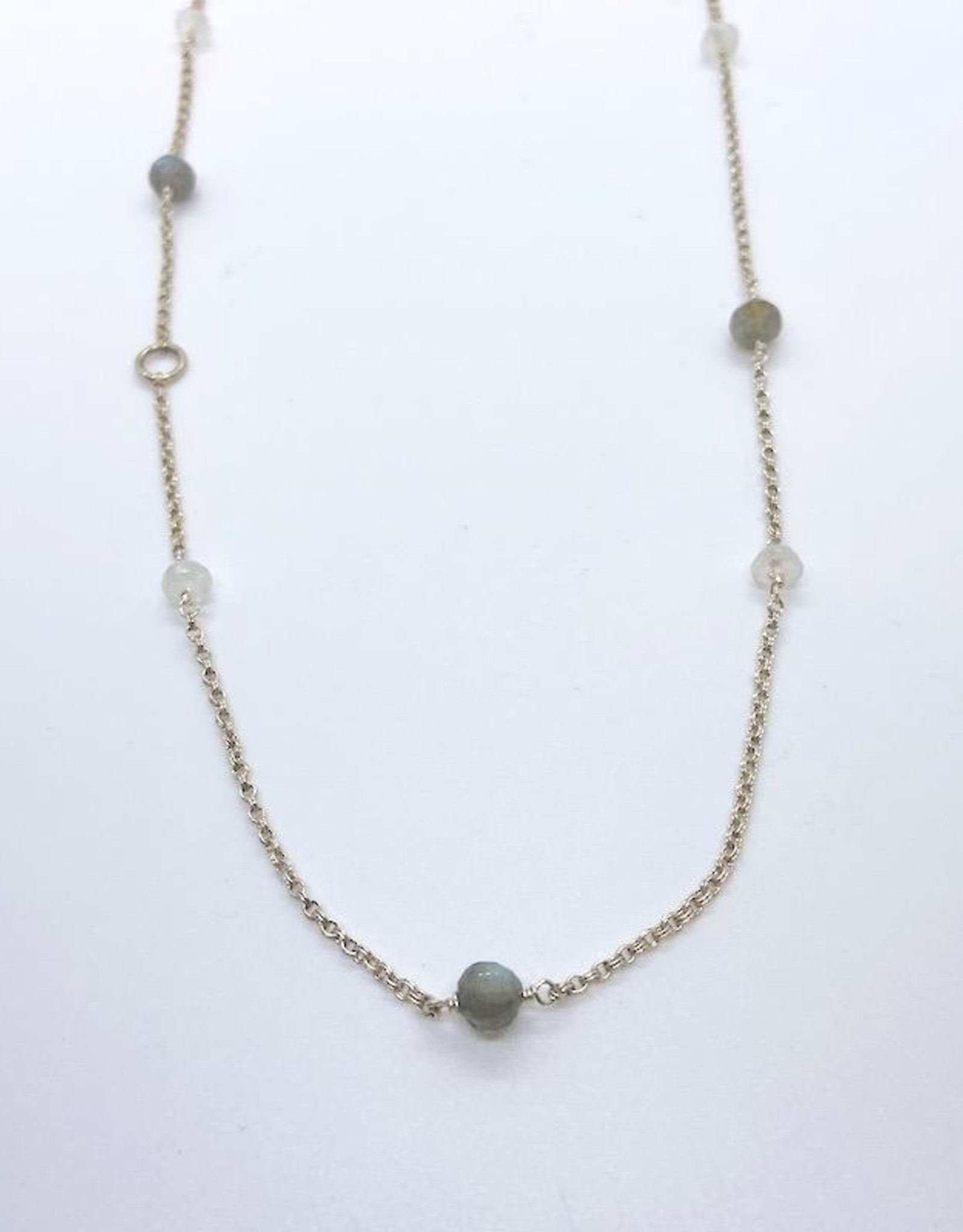 Handmade Silver Necklace with alternating rainbow moonstone, labradorite, 1 ring, 20""