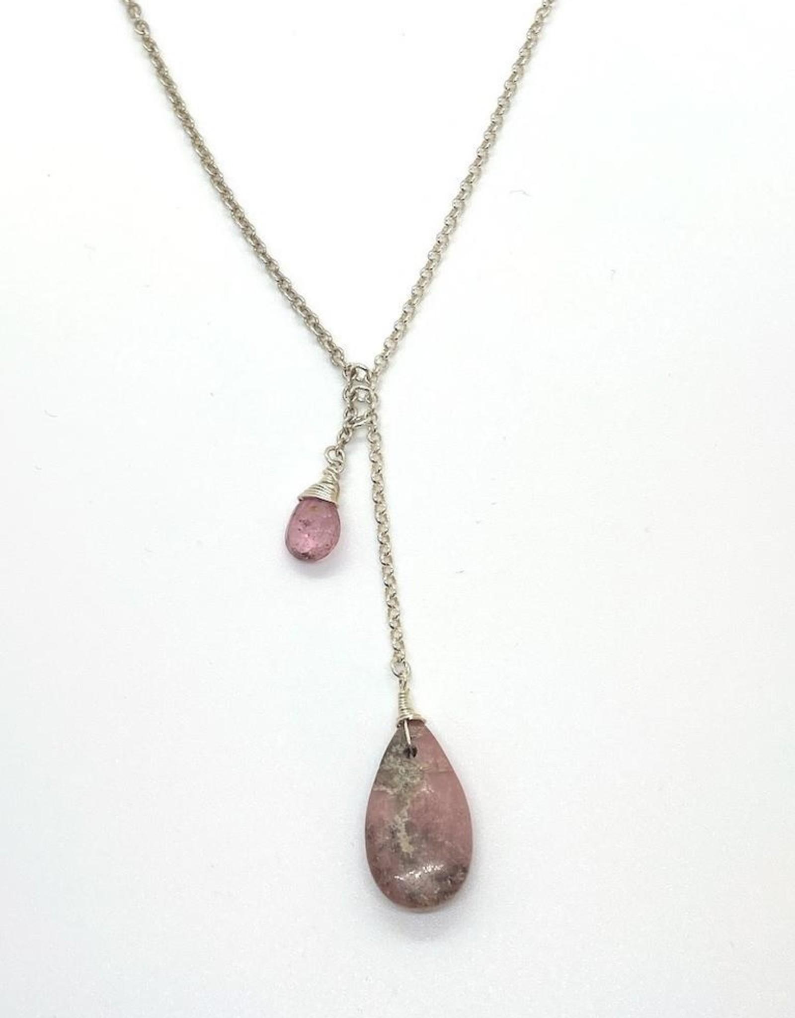 Handmade Silver Necklace with bolo: pink tourmaline briolette, rhodochrosite