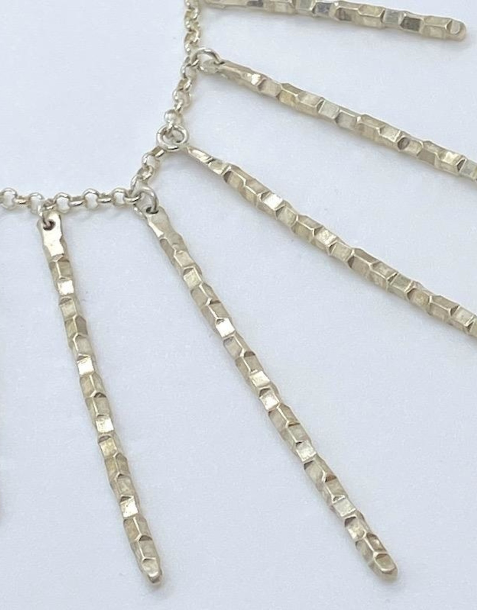Handmade Sterling Silver Necklace with 7 graduated faceted sticks