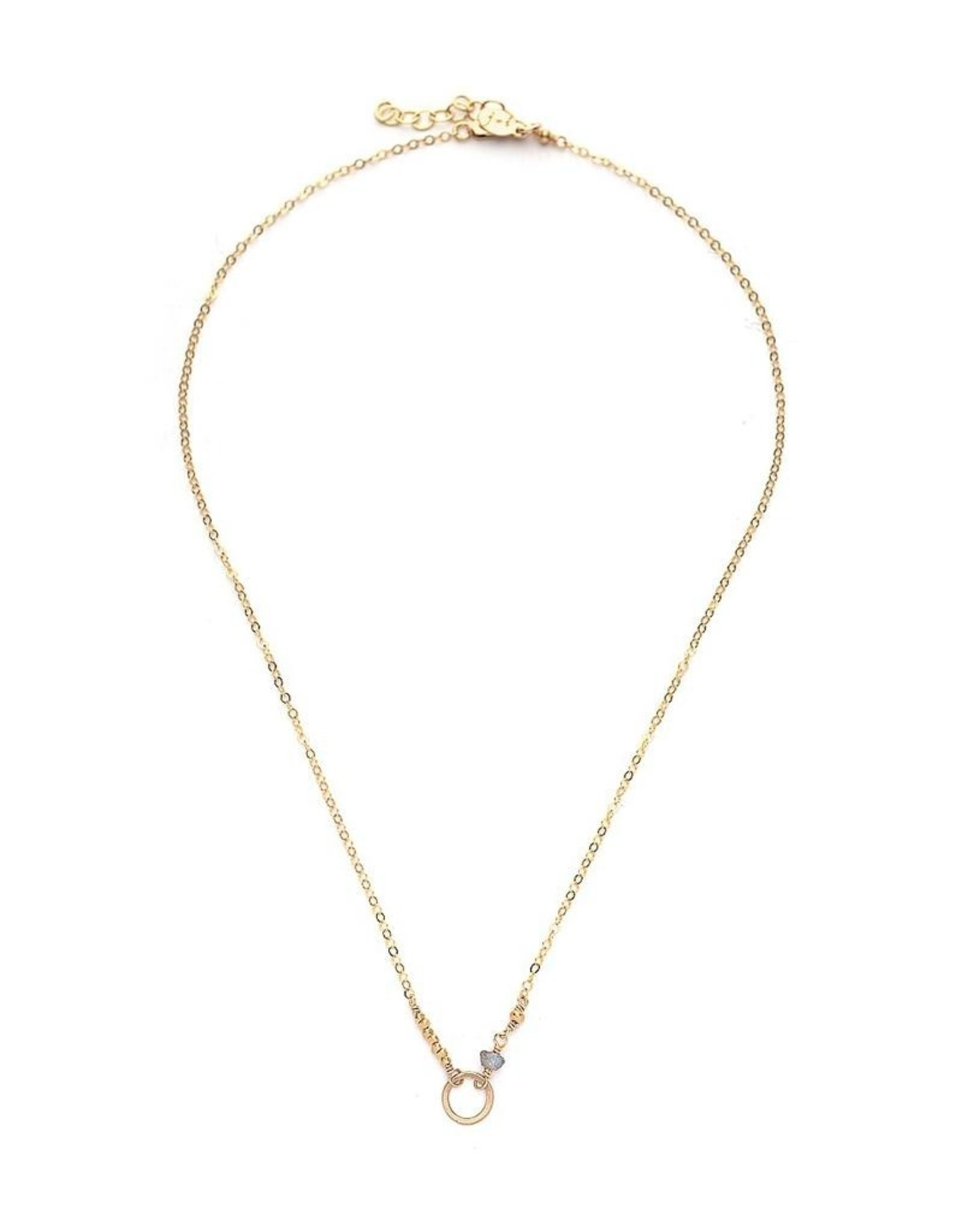 Handmade14kt Gold fill Necklace with Small Open Circle and 4mm Labradorite