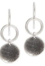 J&I Handmade Textured Hammered Sterling Oxidized Disc and Circle drop Earrings