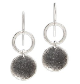 Handmade Textured Hammered Sterling Oxidized Disc and Circle drop Earrings