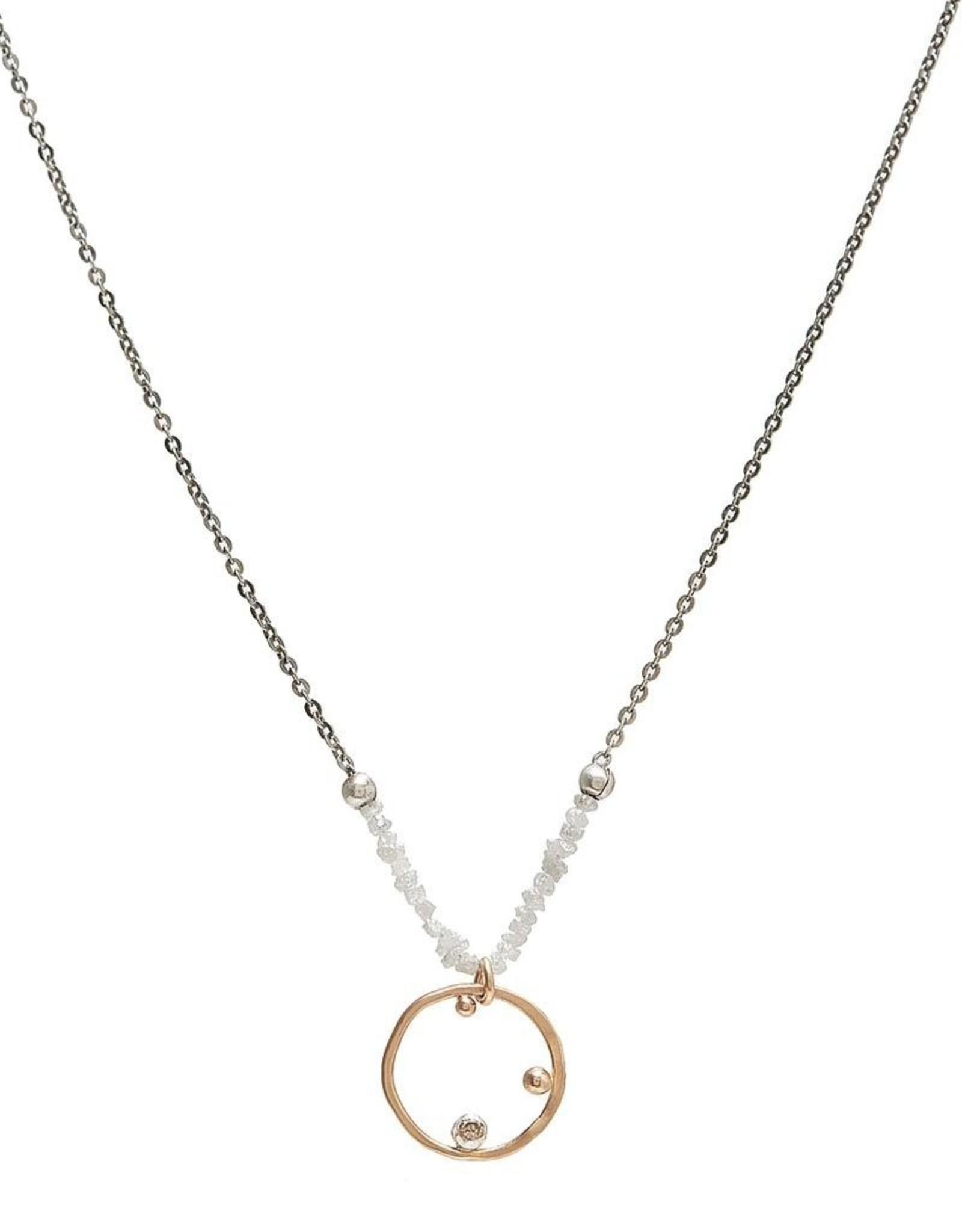 "Handmade 14k Goldfill Pendant with 2.1mm Chocolate Diamond on White Diamond Chip Necklace, 18"""