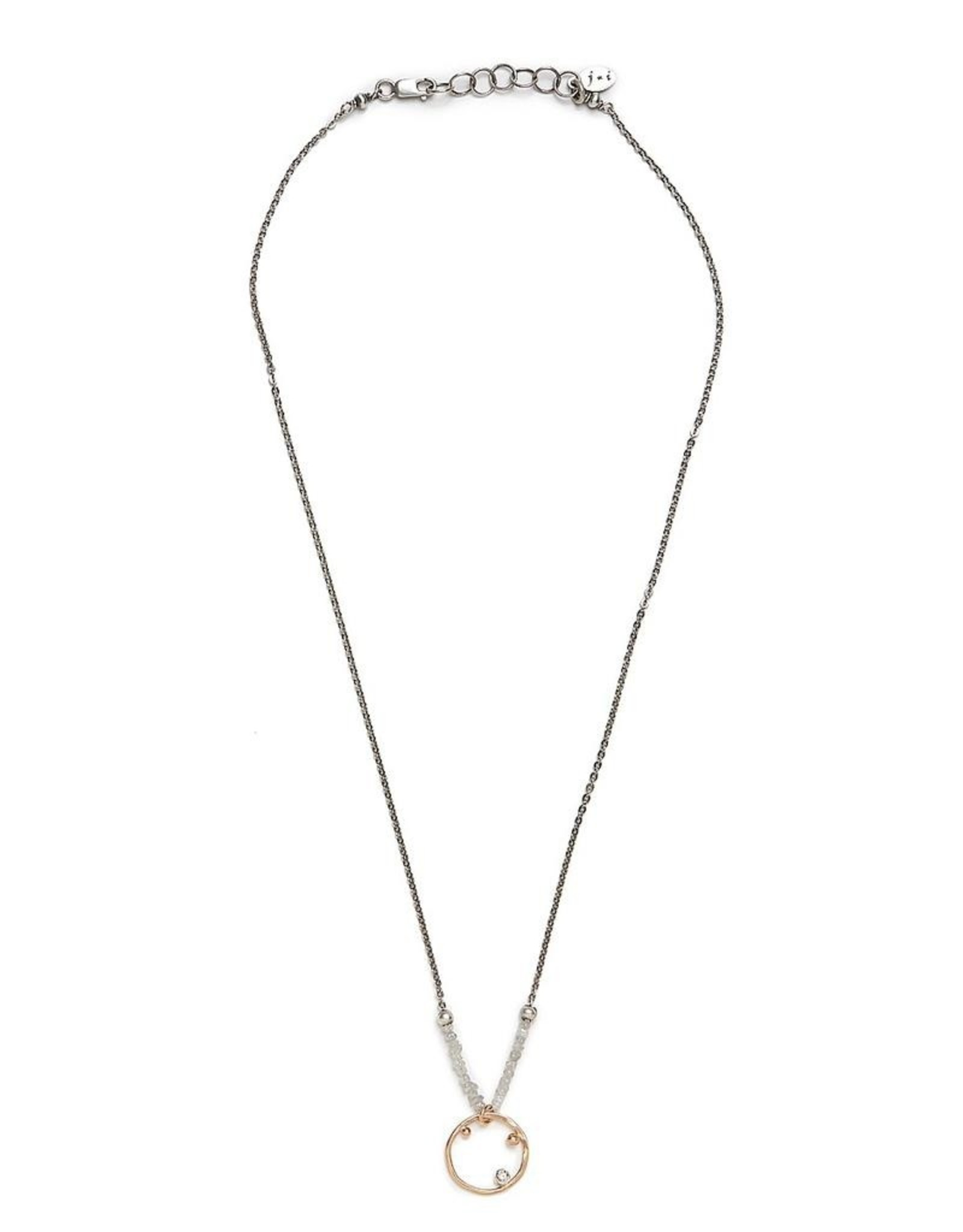 "J&I Handmade 14k Goldfill Pendant with 2.1mm Chocolate Diamond on White Diamond Chip Necklace, 18"""