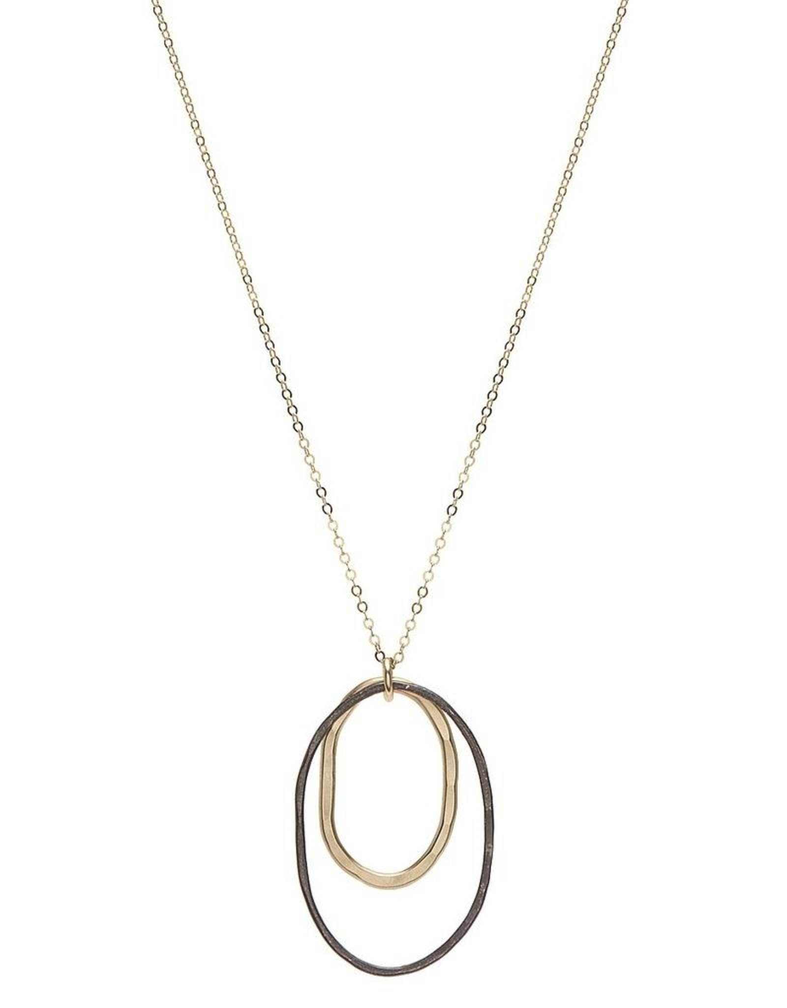 Handmade Black Oxidized Sterling Silver Oval and 14k Goldfill Oval on Goldfill Chain Necklace, 18""