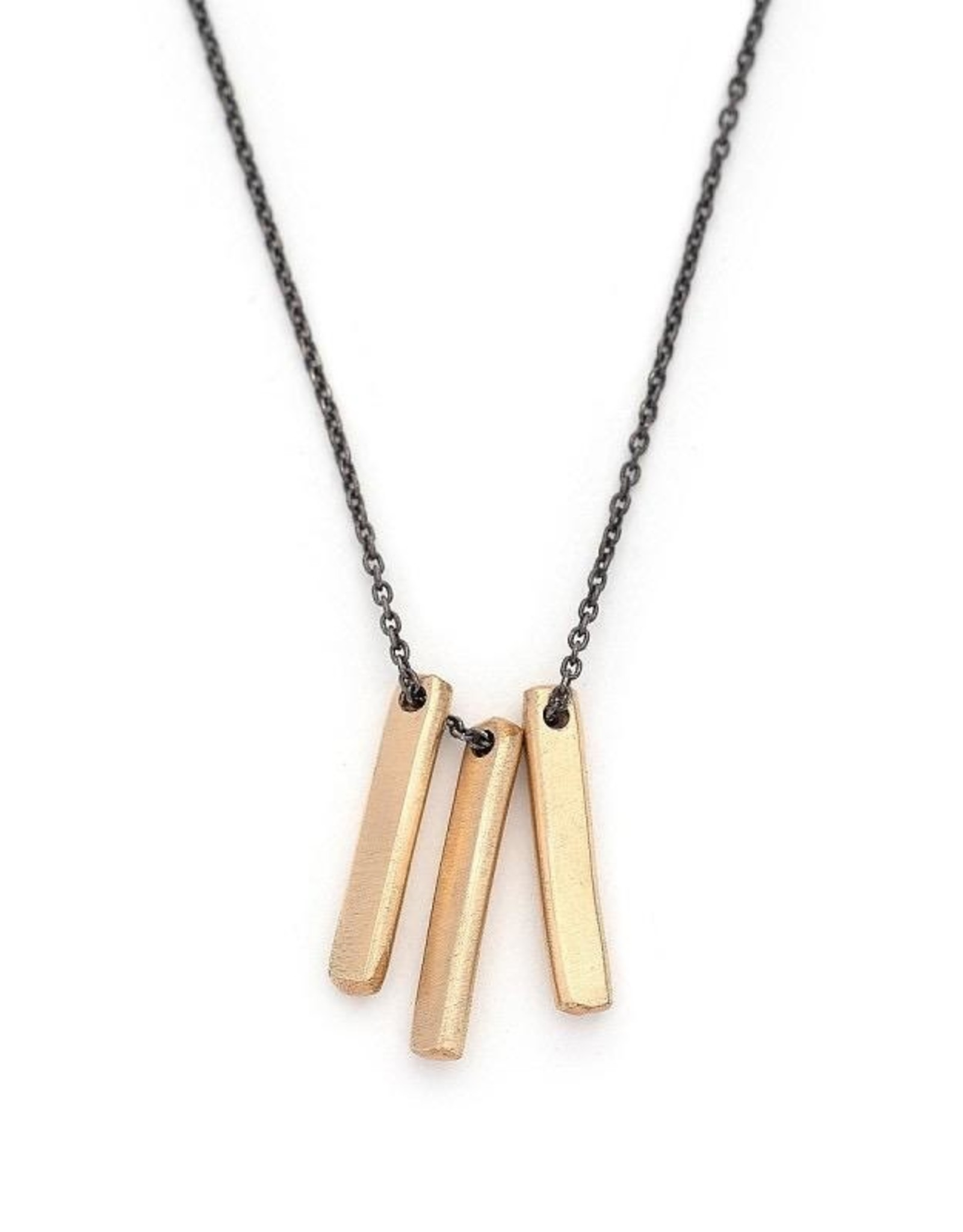 Handmade Three 14k Goldfill Bar on Oxidized Sterling Chain Necklace