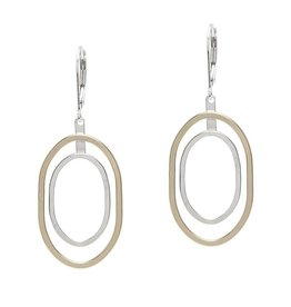Handmade Shiny Floating and 14k Goldfill and Sterling Silver Oval Earrings with Silver Leverback