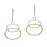 Handmade Soldered 14k Goldfill and Sterling Silver Ovals and sterling Leverback