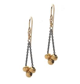 Handmade 3 14k Vermeil Beads on Oxidized Sterling Chain Earrings