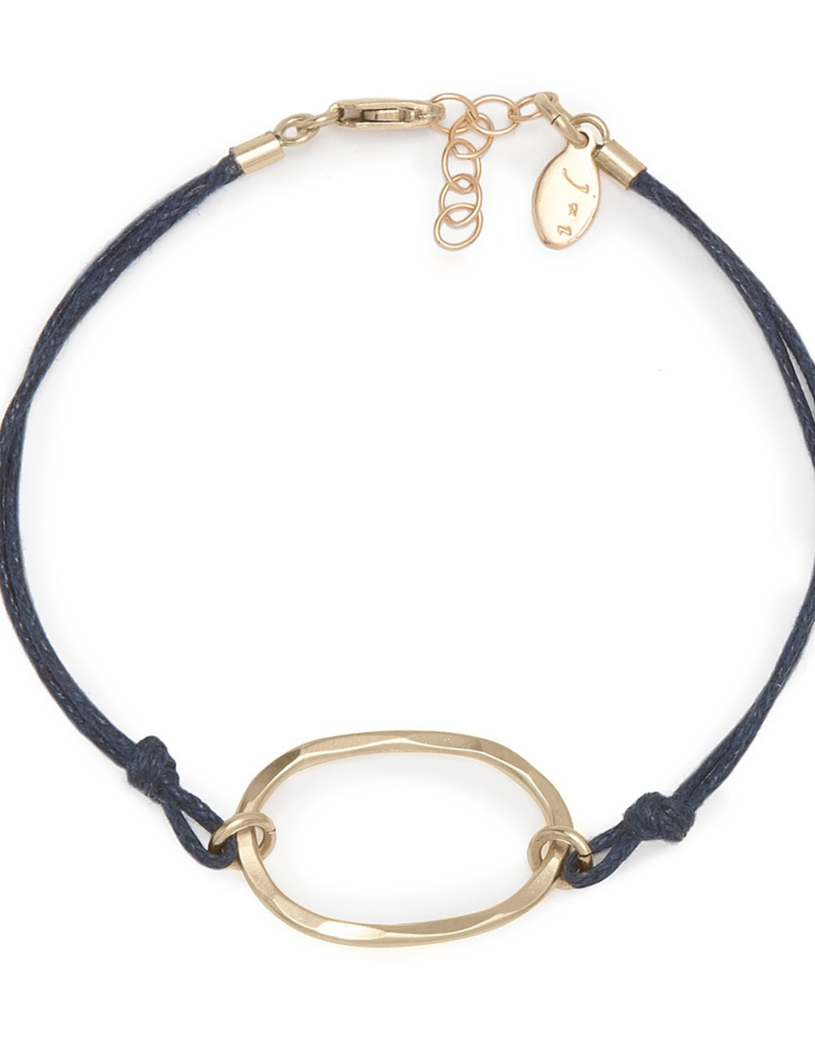 Handmade 14k Goldfill Oval on Royal Blue Cord Bracelet