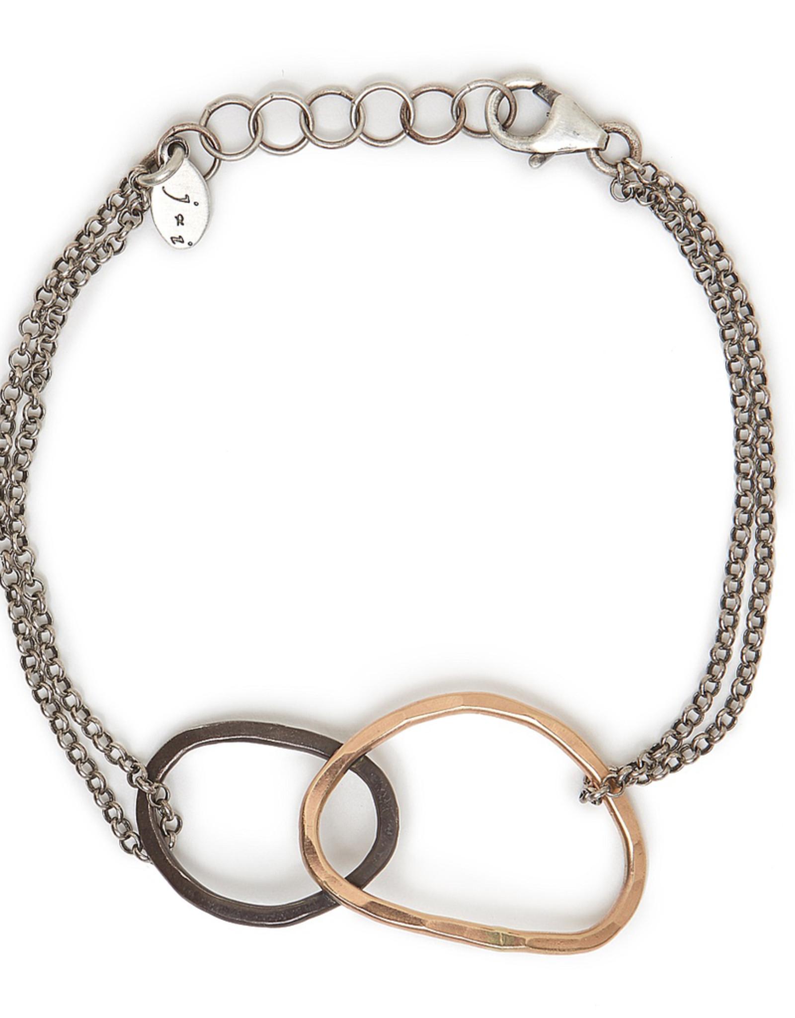 Handmade 14k Goldfill and Black Sterling Open Shape Bracelet on Chain