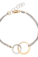 Handmade Oxidized Sterling and 14k Goldfill Open Circle Bracelet