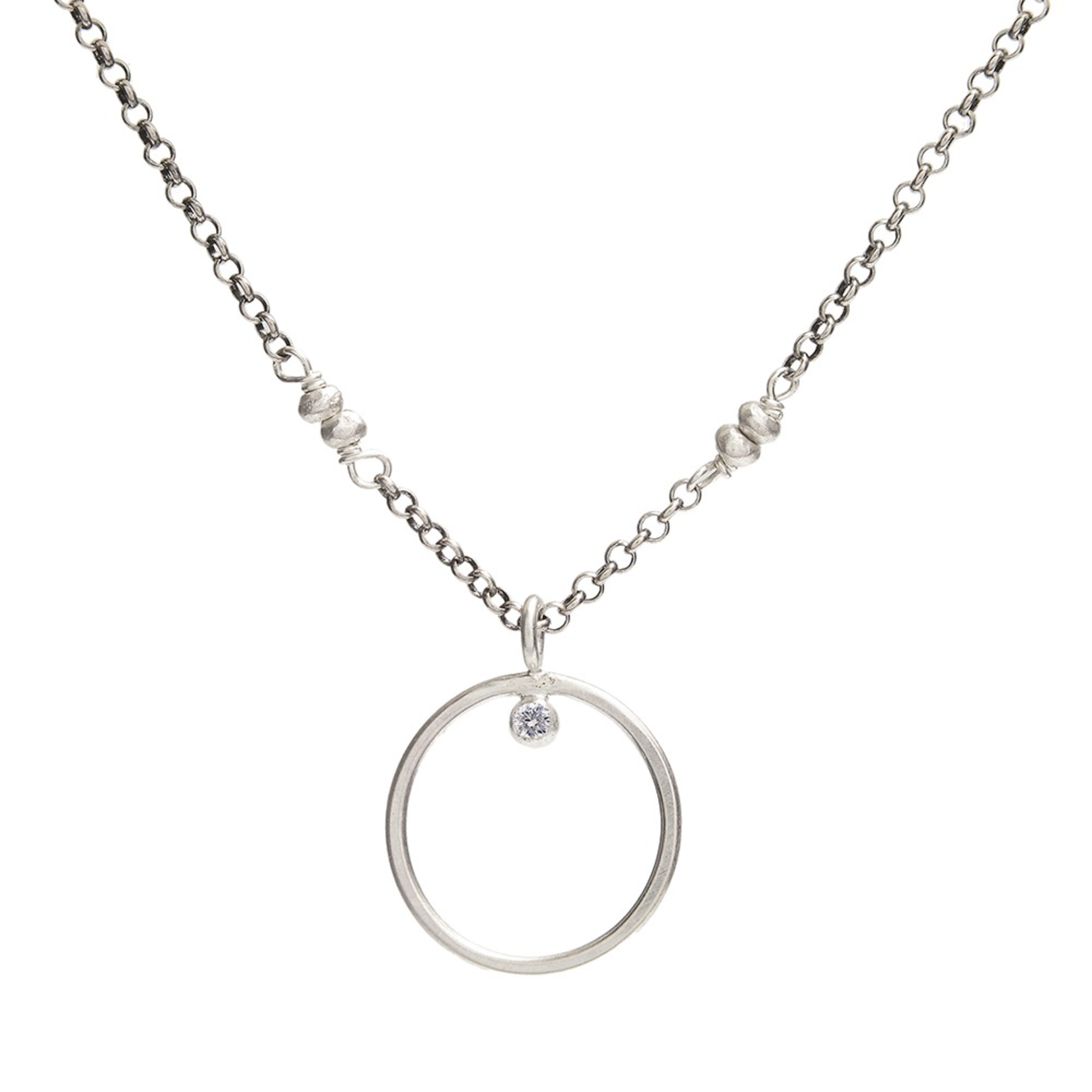 Handmade Sterling Circle 2mm CZ on Oxidized Sterling Chain Necklace